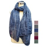 Pashmina lisa con relieve cuadros
