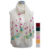 Pashmina bordada guarda flores
